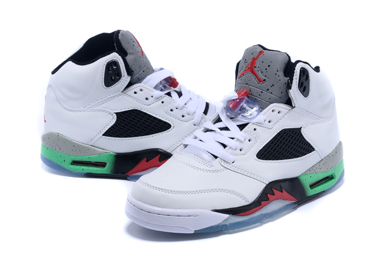 New 2015 Air Jordan 5 Retro White Black Red Green Shoes
