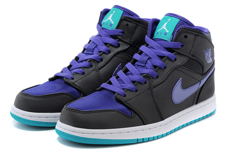 2015 Air Jordan 1 Black Purple Grap Shoes