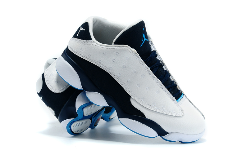 2015 Jordan Retro 13 Low White Black Blue Shoes