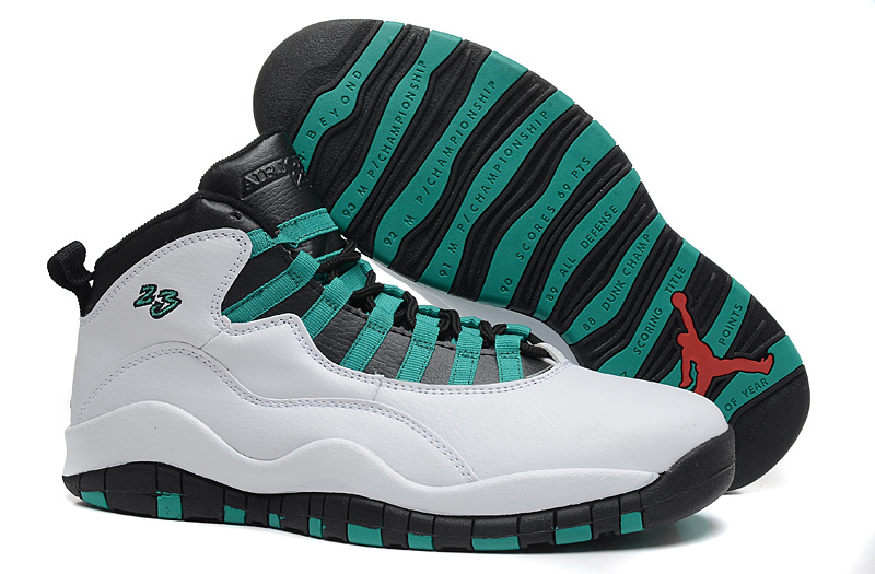 2015 Air Jordan 10 Retro White Black Green Shoes