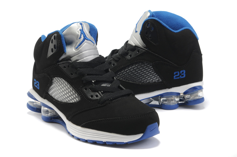 2012 Air Cushion Jordan 5 Black White Blue
