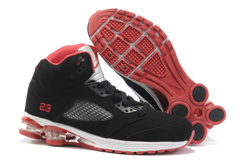 2012 Air Cushion Jordan 5 Black White Red