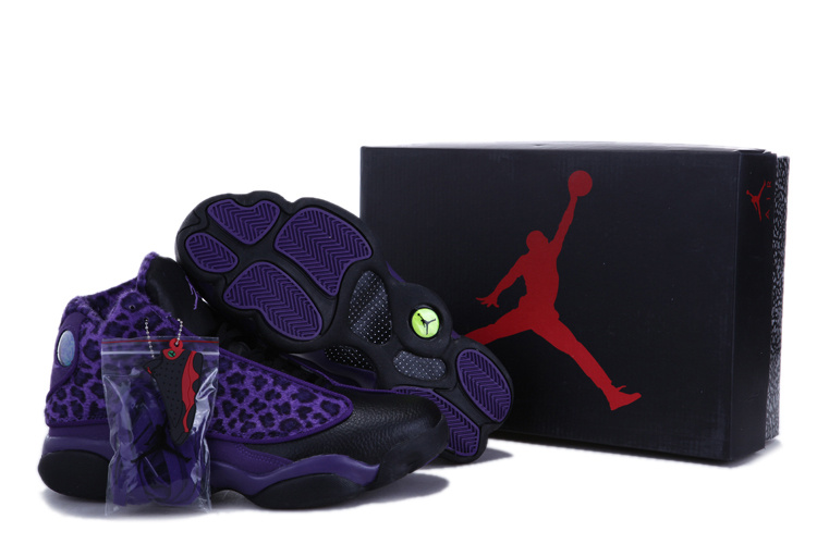2013 Air Jordan 13 Leopard Print Black Purple Shoes