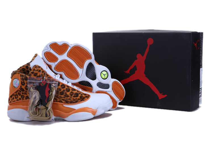 2013 Air Jordan 13 Leopard Print White Yellow Shoes