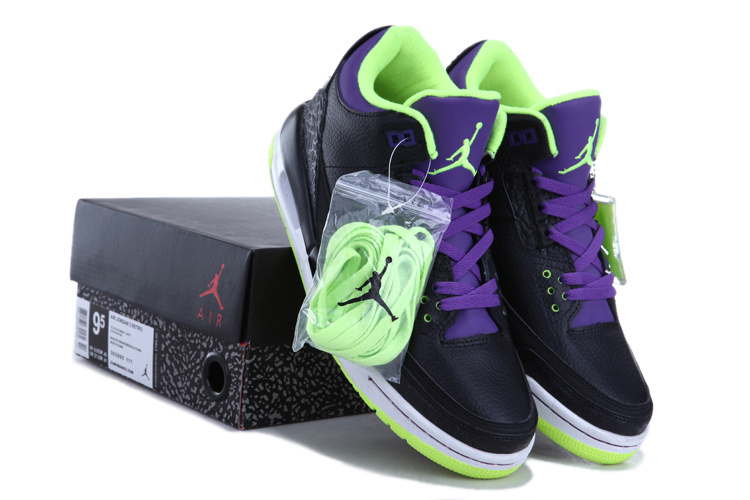2013 Air Jordan 3 Black Green Purple Shoes