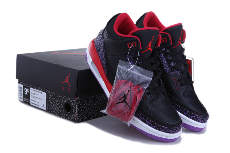 black and red jordan 3