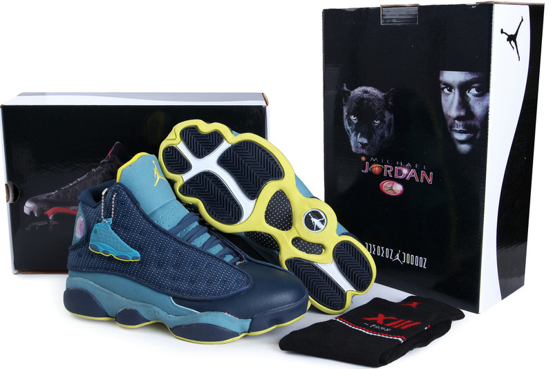 2013 Hardcover Air Jordan 13 Blue Yellow Shoes