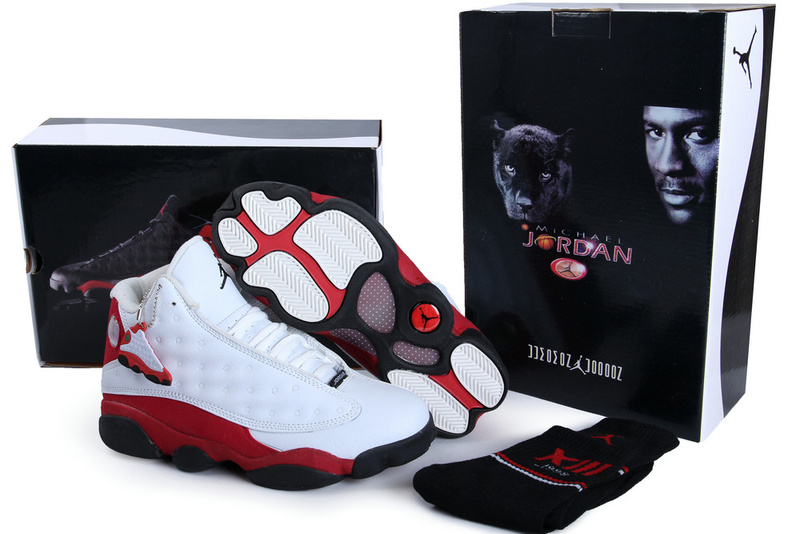 2013 Hardcover Air Jordan 13 White Red Black Shoes