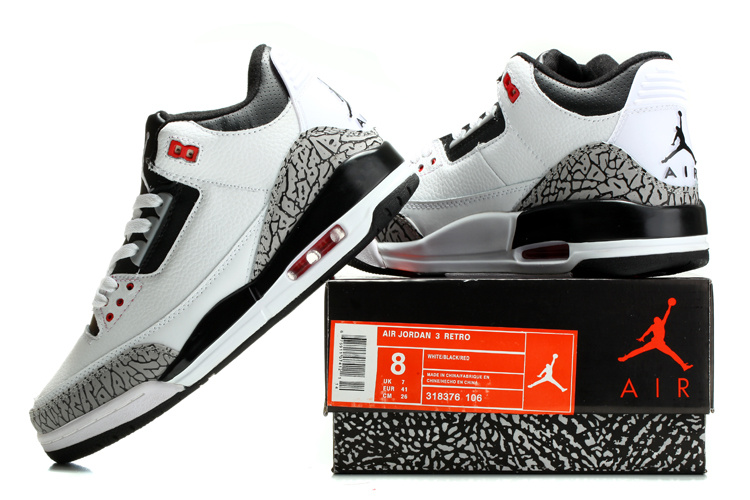 2014 Air Jordan Retro 3 White Black Grey Cement Shoes