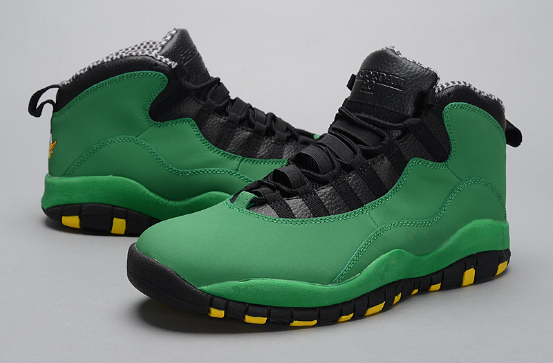 2014 Jordan 10 Retro Green Black Yellow Shoes