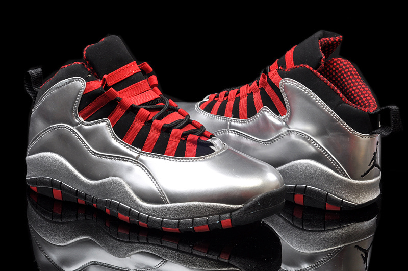Mens Air Jordan 10 Retro Grey White Red shoes