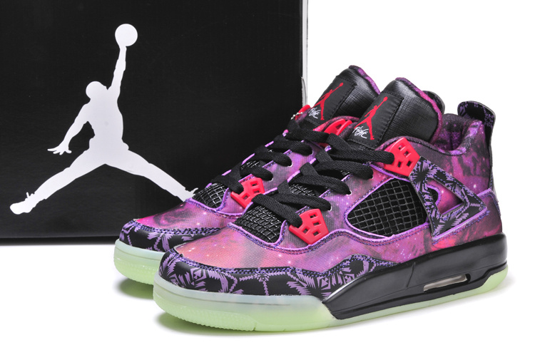 2014 Jordan 4 Retro Starry Sky Edition Purple Black Shoes
