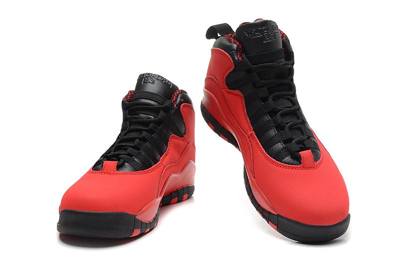 2014 New Jordan 10 Retro Transparent Sole Red Black Shoes