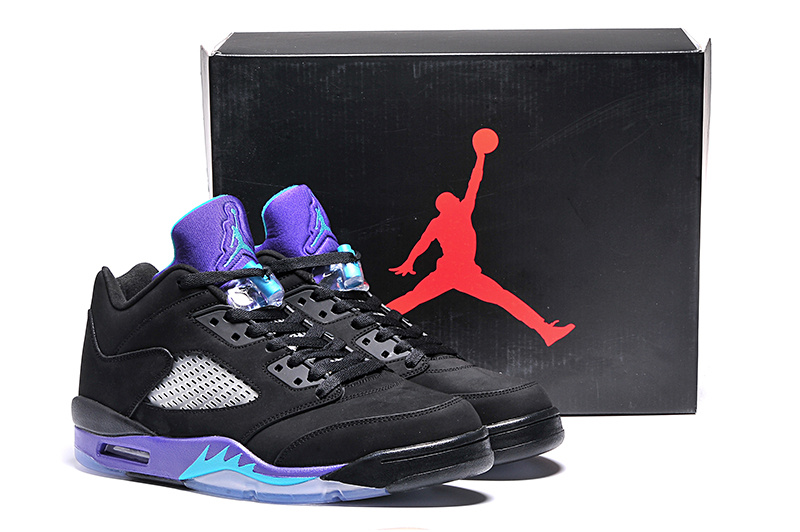 New Arrival Ai Jordan 5 Retro Low Black Purple Shoes