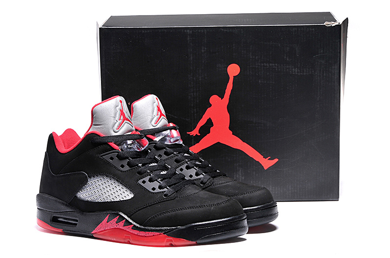 New Arrival Ai Jordan 5 Retro Low Black Red Shoes