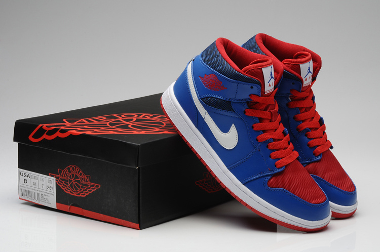 2015 Air Jordan 1 Retro Blue Red Shoes