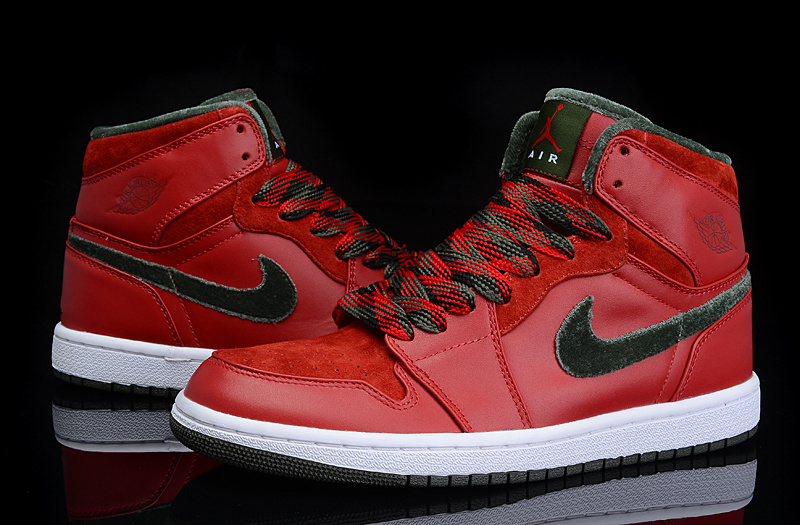 2015 Air Jordan 1 Retro All Red Green Shoes