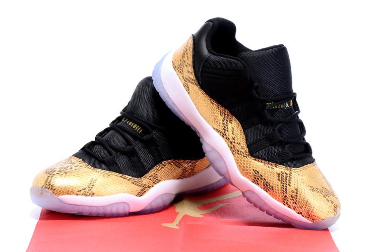 New Arrival Air Jordan 11 Retro Black Gold Snakeskin Shoes