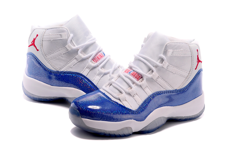 2015 Air Jordan 11 White Blue Shoes For Women