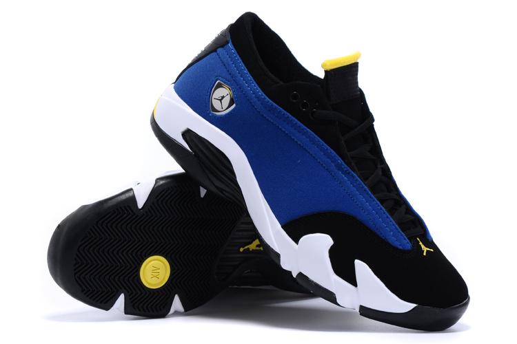 New Arrival Air Jordan 14 Low Blue Black White Shoes