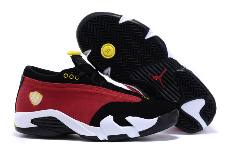 New Arrival Air Jordan 14 Low Red Black White Yellow Shoes