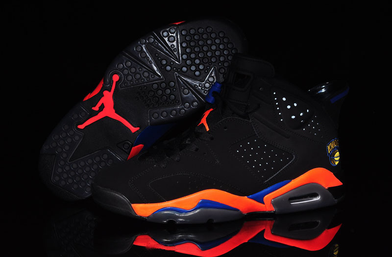 2015 Jordans 6 Knicks Black Orange Blue World Cup Lovers