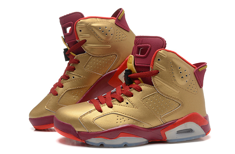New Arrival Air Jordan 6 Retro Gold Red Shoes
