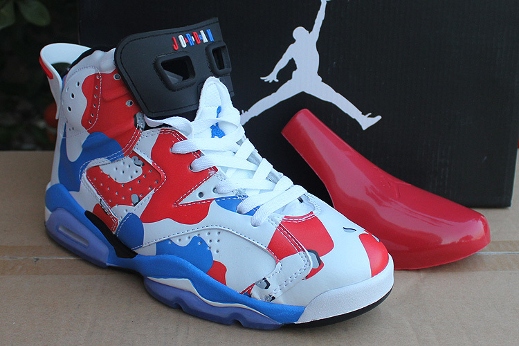 White Red Blue Jordans 6 Lovers