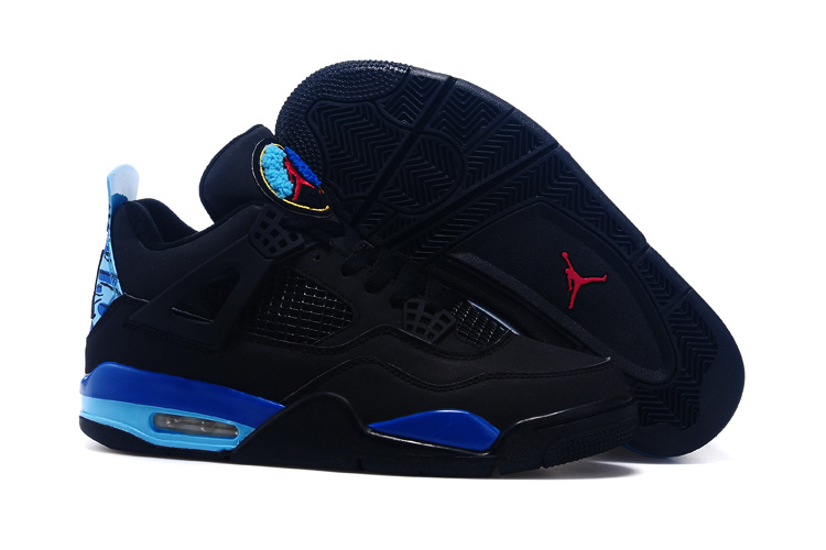 2015 Air Jordan 4 And 8 Shoes Black Blue Red