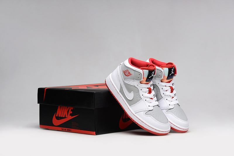 2015 Air Jordan 1 Bugs Bunny White Red Grey Shoes For Women