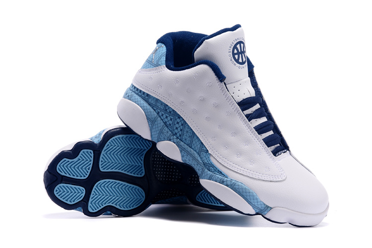 2015 Jordan 13 Low White Blue Shoes