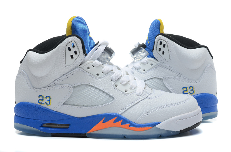 2015 Jordan 5 Retro White Blue Orange Shoes