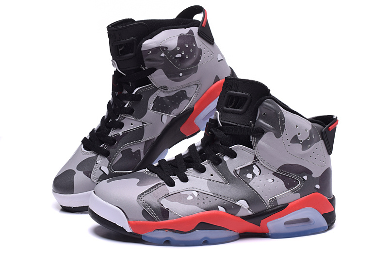 2015 Air Jordan 6 Army Grey Red Black Shoes For Women