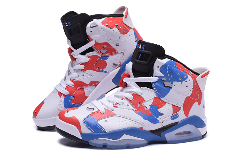 2015 Air Jordan 6 White Red Blue Shoes For Women