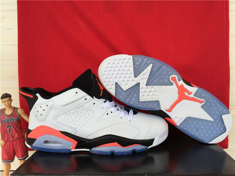 2015 Jordan 6 Low White Black Red Shoes