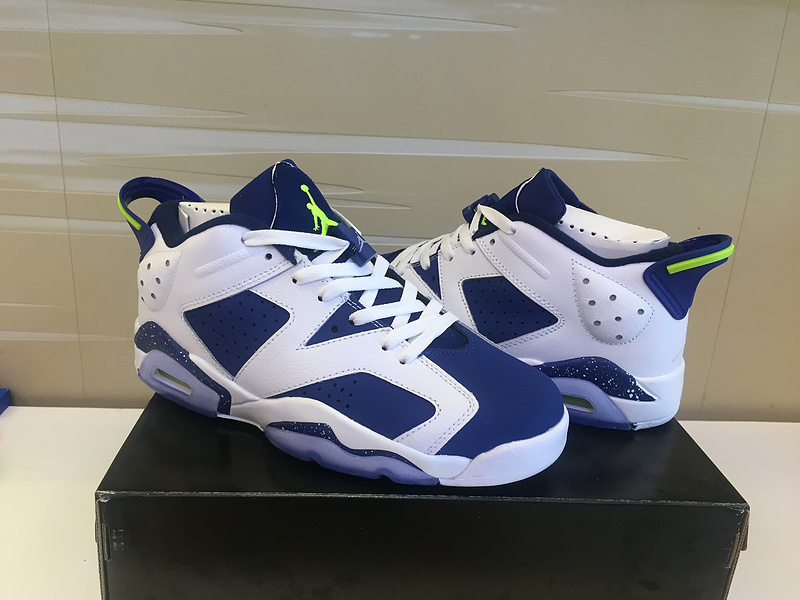 2015 Jordan 6 Low White Blue Fluorscent Shoes