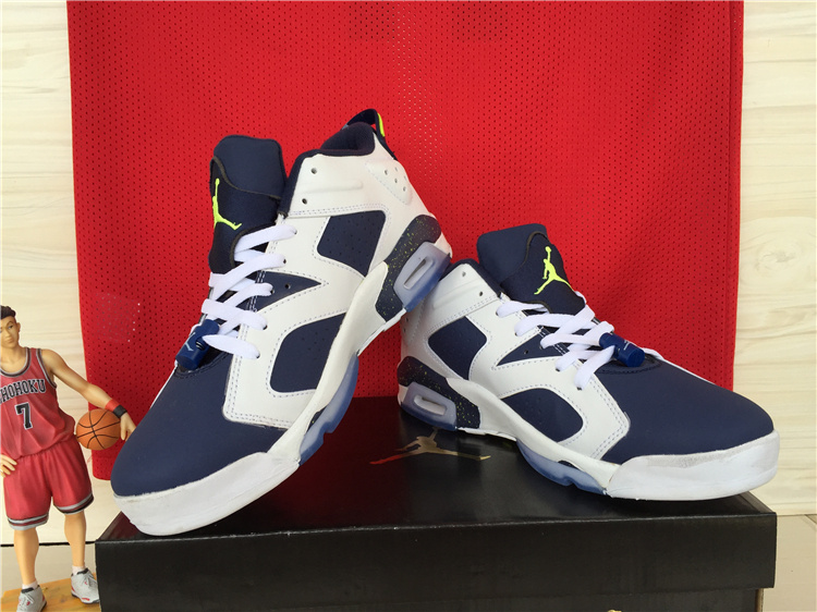 2015 Jordan 6 Low White Deep Blue Shoes