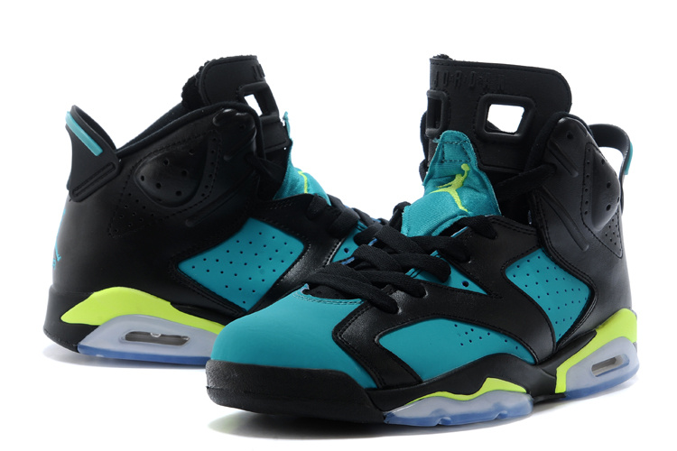 2015 Jordan 6 Retro Black Blue Fluorscent Shoes For Women