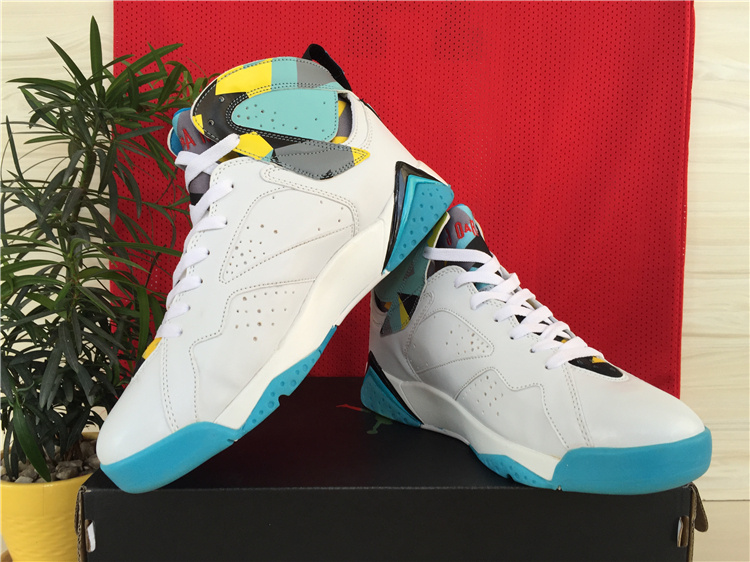 2015 Cheap Real Air Jordan 7 White Baby Blue Yellow Shoes
