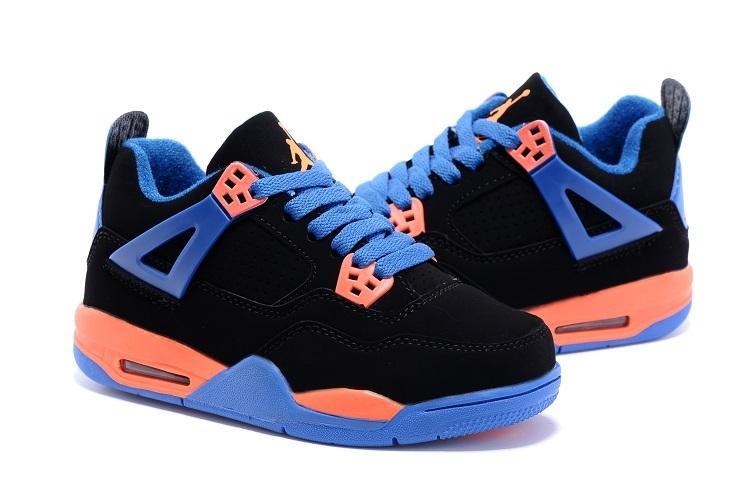 New Air Jordan 4 Retro Black Blue Orange Kids Shoes