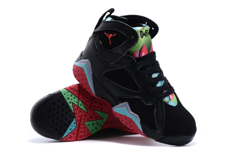New Air Jordan 7 Retro Black Green Red Kids Shoes