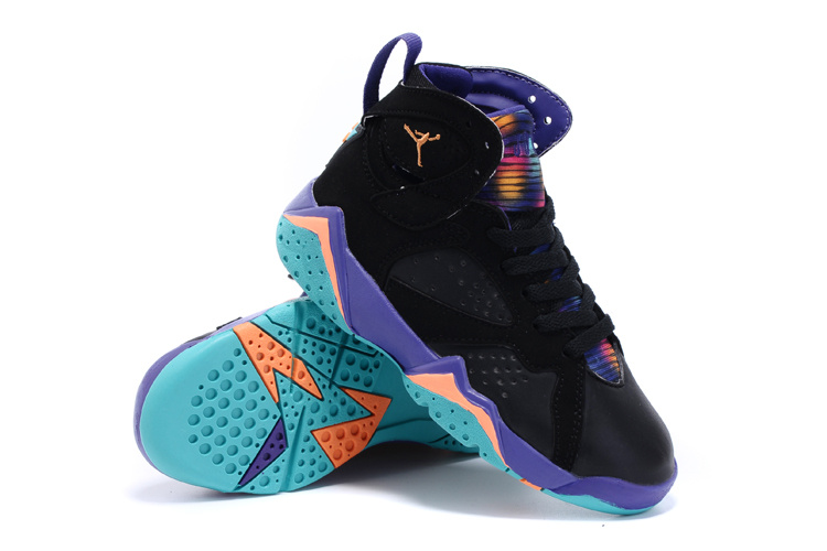 New Air Jordan 7 Retro Black Purple Orange Kids Shoes