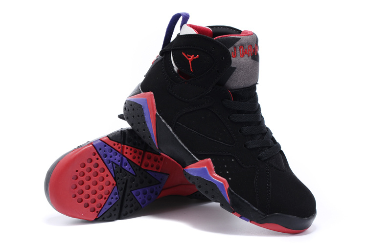 New Air Jordan 7 Retro Black Purple Red Kids Shoes