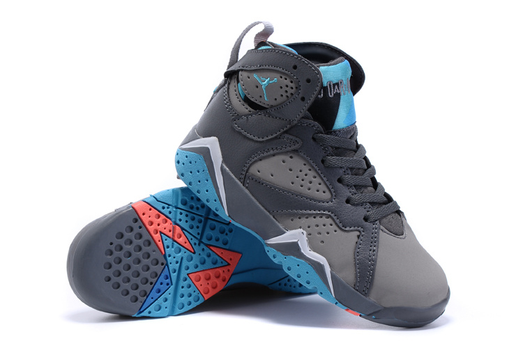 New Air Jordan 7 Retro Grey Blue Kids Shoes