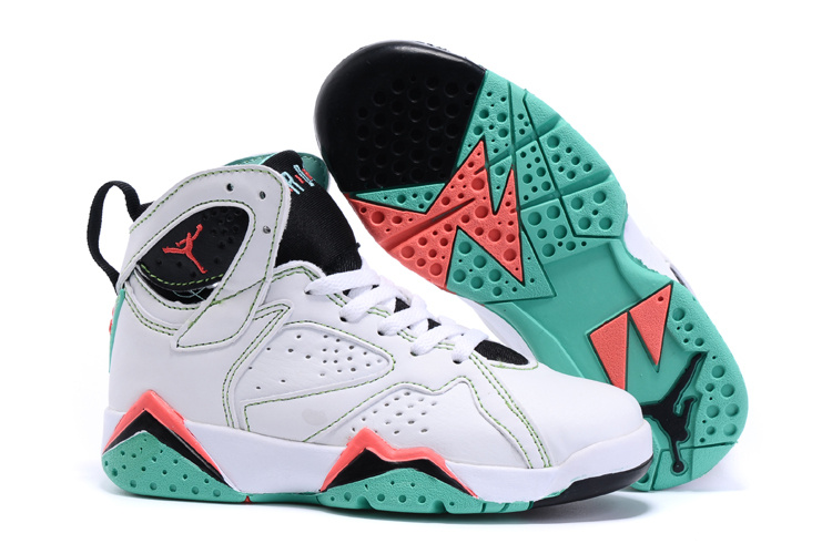 New Air Jordan 7 Retro White Black Red Green Kids Shoes