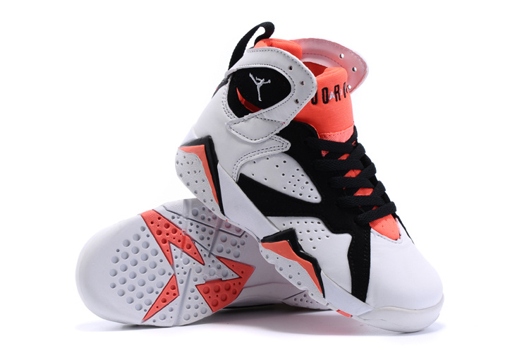 New Air Jordan 7 Retro White Black Red Kids Shoes