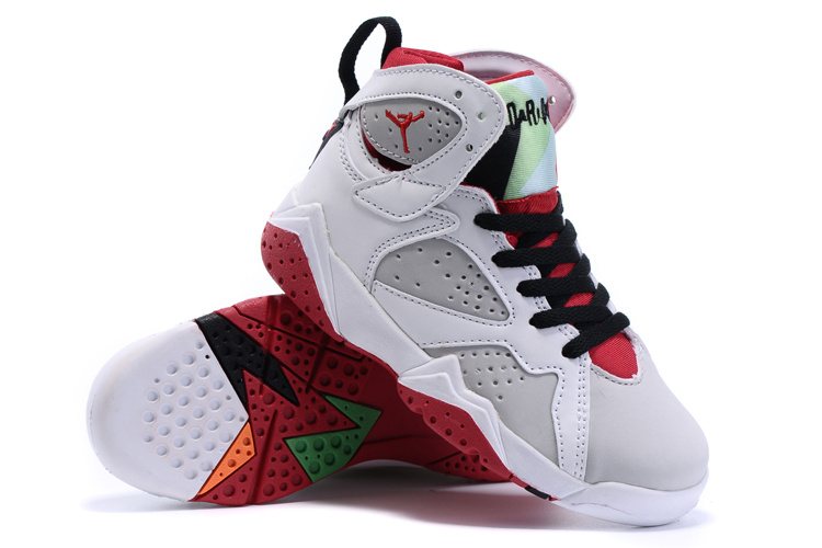 New Air Jordan 7 Retro White Grey Red Black Kids Shoes