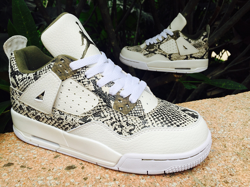 New Arrival Air Jordan 4 SnakeSkin White Army Green Shoes