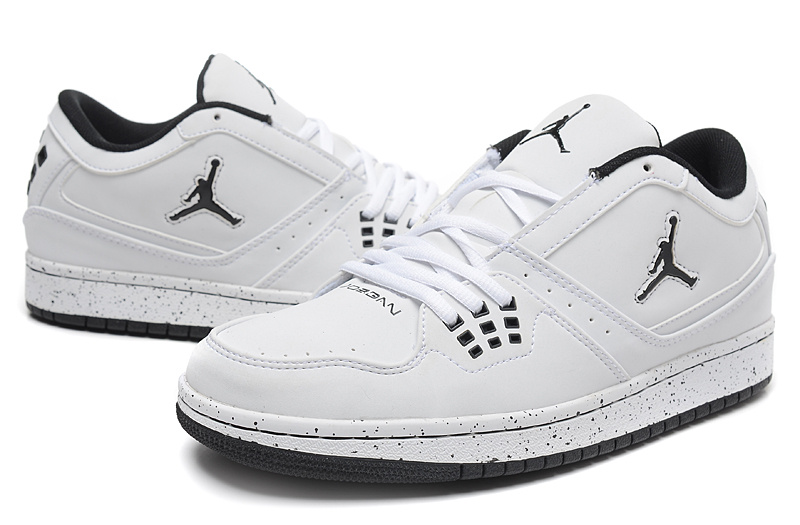 Latest Air Jordan 1 Flight Low White Black Jumpman Shoes