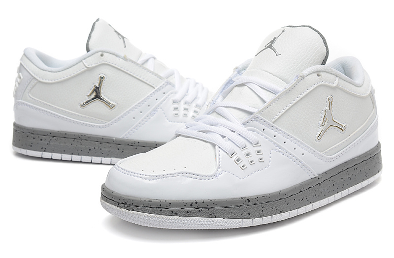 Latest Air Jordan 1 Flight Low White Grey Shoes